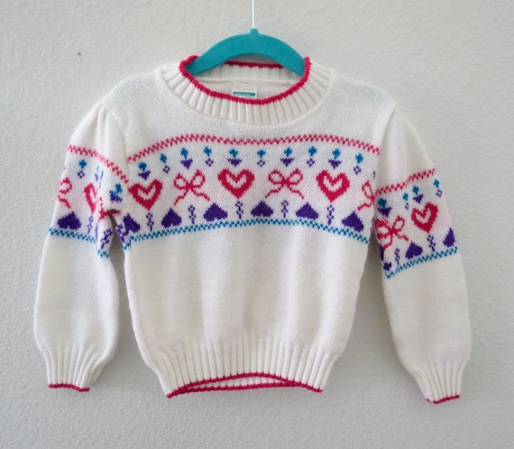 Vintage Toddler Sweater Heart Pullover 80s