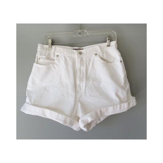 """White Denim Shorts / 90's Shorts / 1990's Denim Shorts / Size Medium / 30"""" Waist / High Waisted Shorts / Mom Shorts / Cuffed"""