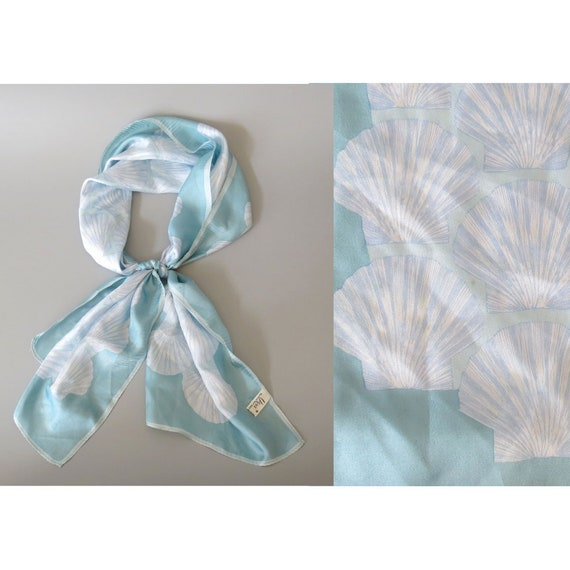 Seashell Scarf / Vera Neumann Scarf / Silk Scarf / Scallop Shell Scarf / Light Blue Scarf / Hair Head Scarf / Vera Scarf