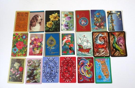 Vintage Playing Cards / Retro Bridge Canasta Cards / Junk Journal / Kitsch Cards / Paper Ephemera / Craft Supplies / Mod Hippie Cards