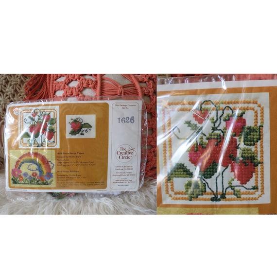 Strawberry Cross Stitch Kit 70s Retro Pattern