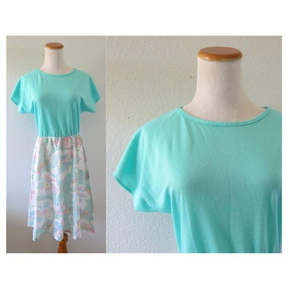 Pastel Floral Dress 80s Blouson Midi Dress