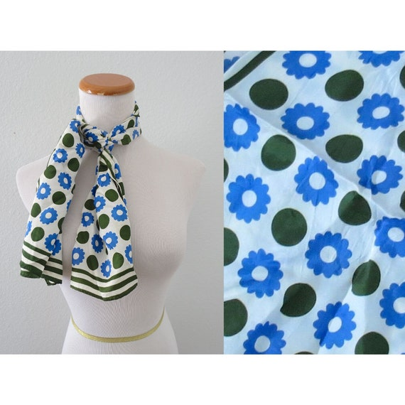 Vintage Ladies Scarf Mod Flower Power Hair Scarf