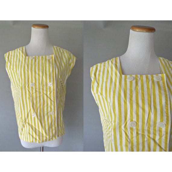 Yellow Striped Blouse / 80's Striped Top / Dolman Shirt / 1980's Yellow Top / Double Breasted Blouse / Cotton Top / Size Medium Large