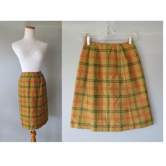 Vintage Plaid Skirt Pendleton Wool Midi XXS