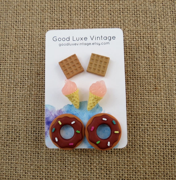 Cute Food Earrings Dessert Snacks Stud Set
