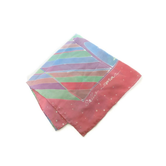 Pastel Scarf Rainbow Sally Lomas 1980s 80s Floral Pink Square Hair Wrap Accessory