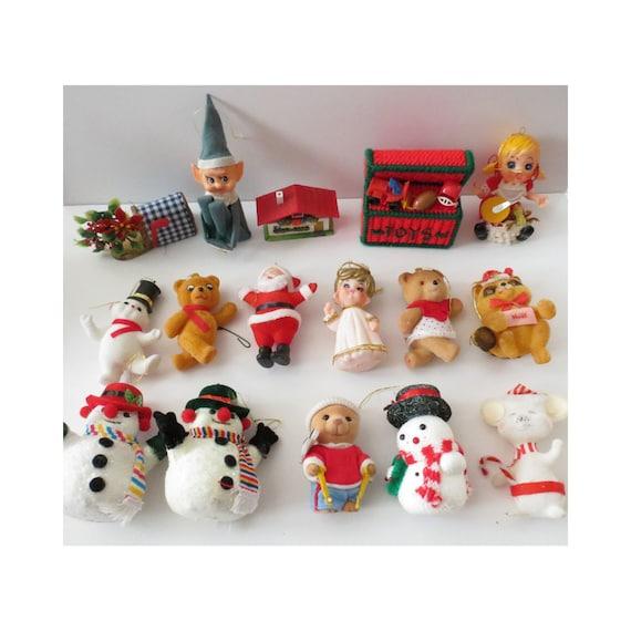 Kitschy Christmas Ornaments Vintage Flocked Ornaments