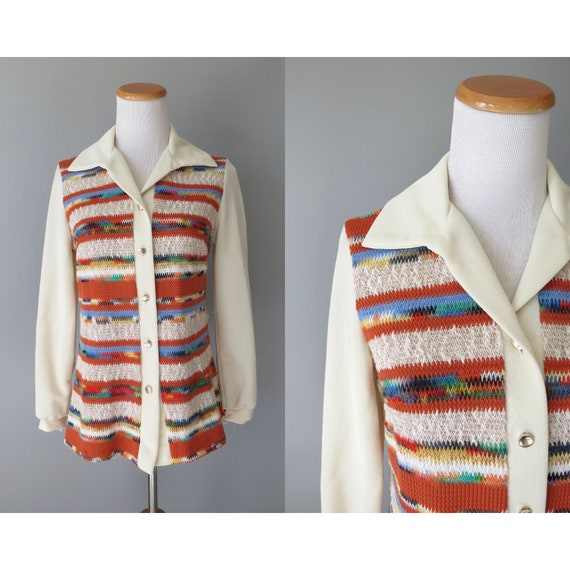 Hippie Blouse / 70's Long Sleeve Button Down Top / 70's Sweater / Earth Tones Blouse / 1970's Tunic / Size Small S / Space Dyed Shirt