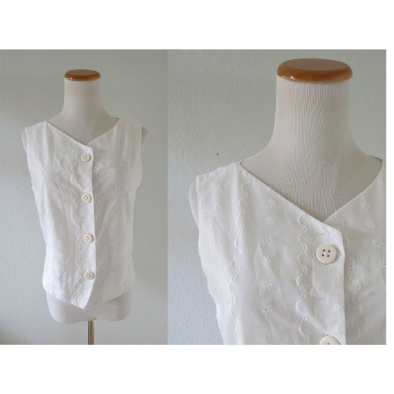 Vintage White Cotton Blouse Eyelet Lace Top
