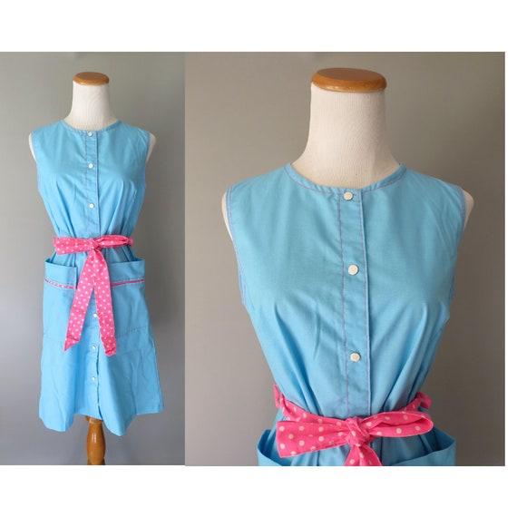 Mod Shift Dress / 60's Sundress / 1960's Day Dress / Vintage House Dress / Size Medium M / 70's Sundress / 1970's Dress / Housewife Dress