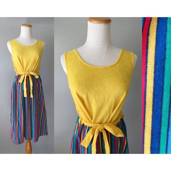 Rainbow Striped Dress / Rainbow Sundress / Terrycloth Dress / 80's Striped Dress / Rainbow Stripe Dress / Size Large / Tank Dress
