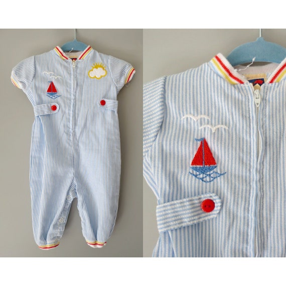 Vintage Baby Romper 70s Boys Outfit