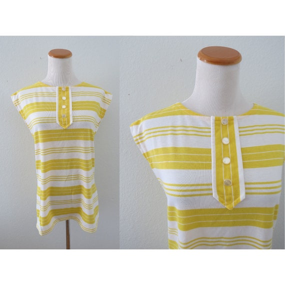 Mod Striped Top Yellow Stripe Tank Blouse