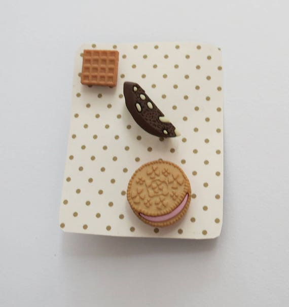 Food Pin Set Dessert Junk Food Cookie Waffle Biscotti Trio Gift for Her   Flair Fun Accessory Set Girls