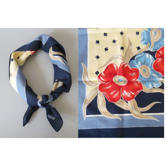 Floral Hair Scarf / 70's Scarf / Floral Neckerchief / Hippie Hair Scarf / 1970's Square Scarf / Spades Scarf / Polyester