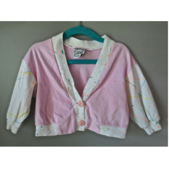 Girl's Cardigan Sweater / Baby Cardigan / Paint Splatter Sweater / Baby Girl's Cardigan / Pink Sweater / 18 Months / 80's Clothes