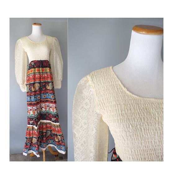 Hippie Maxi Dress Vintage 70s Folk Dress