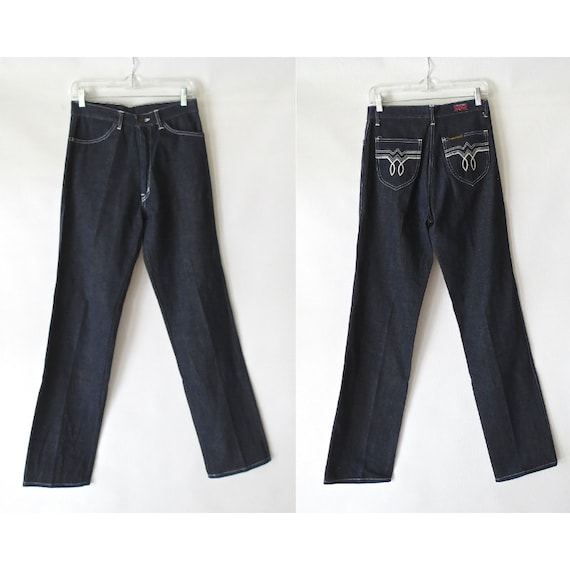 70's Denim Jeans / Western Jeans / 1970's Straight Leg Jeans / Dark Blue Wash / Size 8 / Longstreet Denim Jeans / Embroidered Pockets