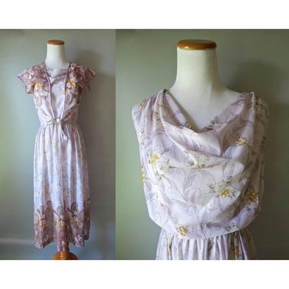 70's Floral Dress Sheer Cowl Neck Midi Dress Boho Bohemian Pastel Lavender Flower Print Size Medium