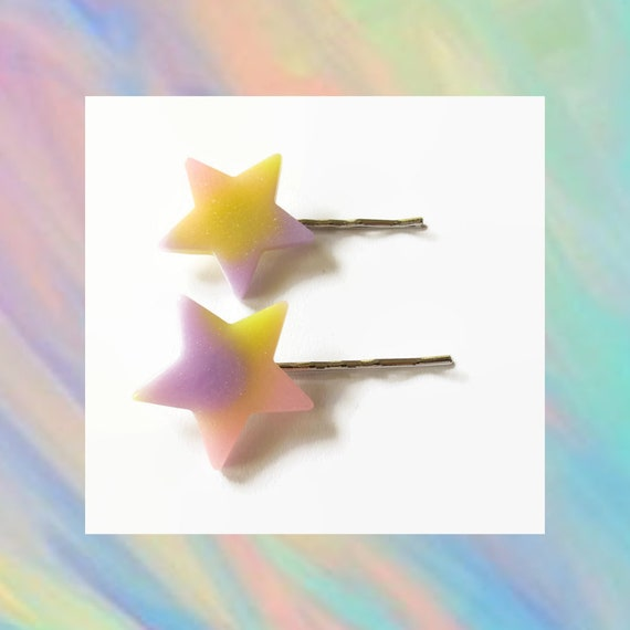 Star Bobby Pin Kawaii Hair Pin Clip Pastel Glitter Rainbow Ombre Barrette Fairy Kei Rave Resin Sparkly Pink Purple Yellow