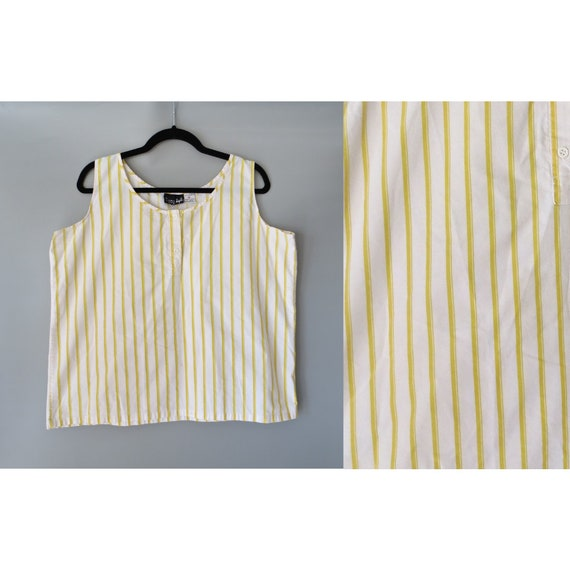 Striped Tank Top / Yellow Striped Top / 80's Sleeveless Blouse / Boxy Top / Size Large L / 1980's Tank Top / Cotton Tank