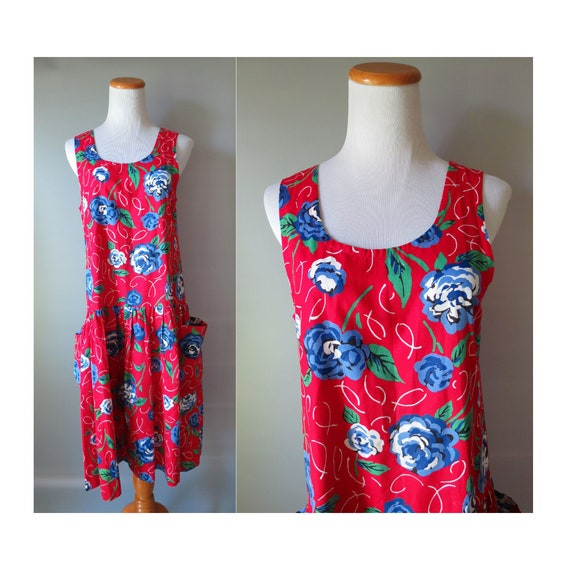 Red Floral Sundress / 80's Sundress / Dress with Pockets / Drop Waist Dress / 1980's Sleeveless Dress / Size Medium
