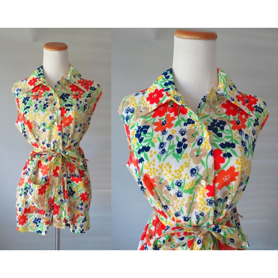 60's Sleeveless Blouse / Mod Floral Top / Mod Blouse / 1960's Flower Power Top / Size Large XL / 60's Tunic Top / Hippie Blouse