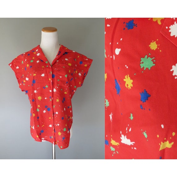 Paint Splatter Top / 80's Button Up Blouse / Rainbow Shirt / 1980's Blouse / Red Abstract Print Top / Size Medium M / Stranger Things