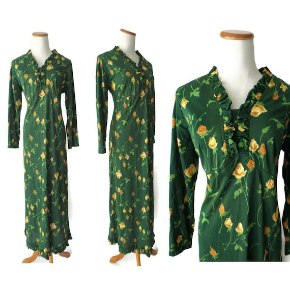 Green Floral Dress Ruffle Hem Maxi Dress 1970s 70s Hippie Boho Size Medium M Bohemian Hippy