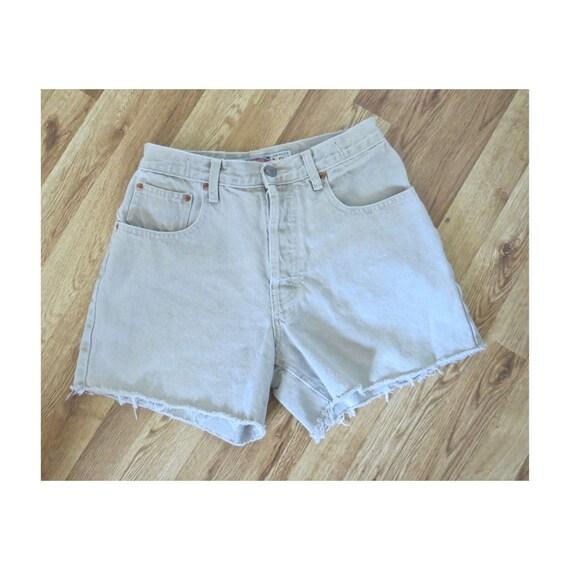 Beige Denim Shorts / 90's Cut Off Shorts / Frayed Denim Shorts / Light Tan Jean Shorts / Size Small / 1990's Denim Shorts / Button Fly