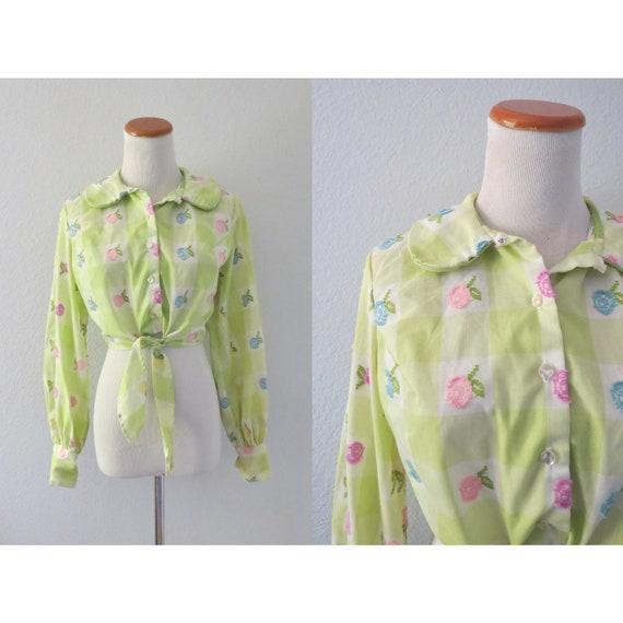 70s Crop Top Floral Cropped Blouse Boho Hippie Shirt