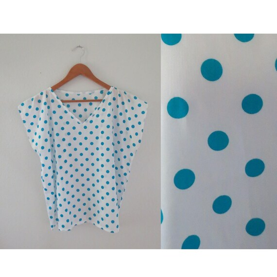 Polka Dot Dolman Blouse 80s Top