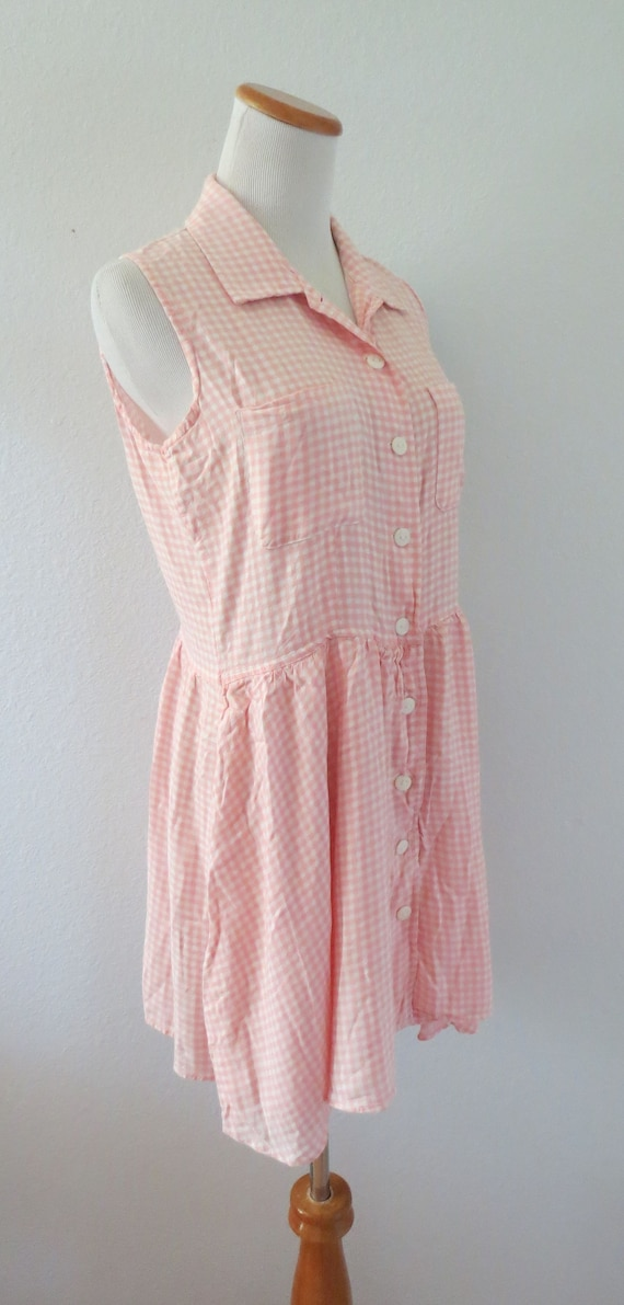 90s Romper Pink Gingham Rayon Playsuit - image 4