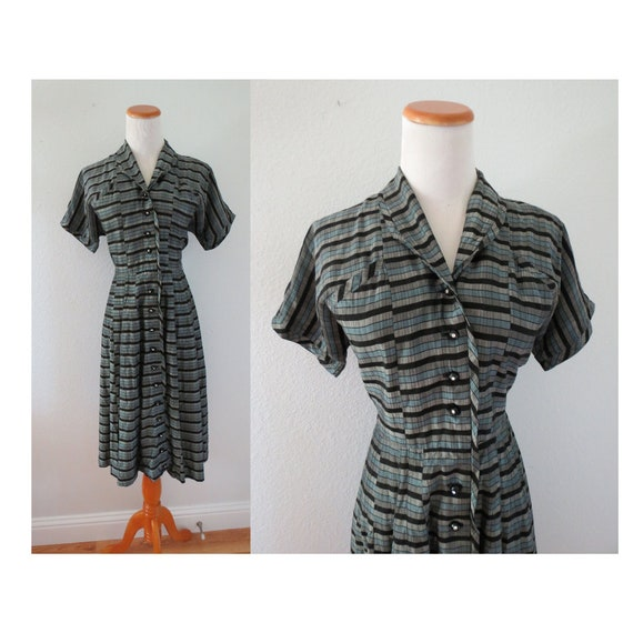 50s Striped Dress 1950s Day Dress