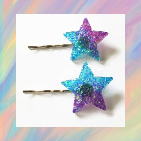 Star Hair Pin / Glitter Star Clip / Star Pin / Kawaii Hair Pin / Fairy Kei / Celestial Hair Accessory / Glitter Hair Clip