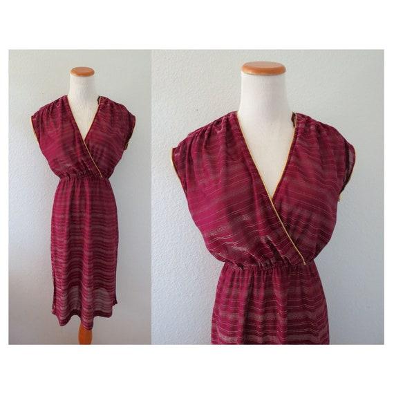 70s Plunging Dress Striped Disco Dress