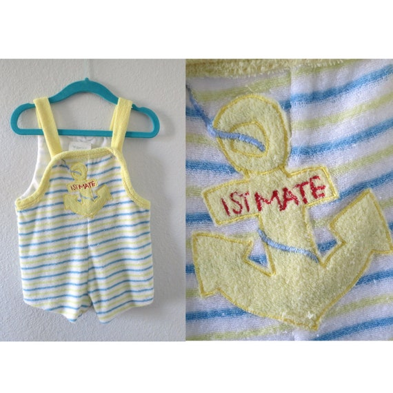 Vintage Baby Romper Terry Cloth Sailor Playsuit