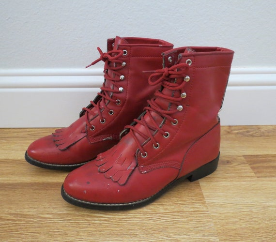 Vintage Red Boots Vegan Lace Up Combat Boot