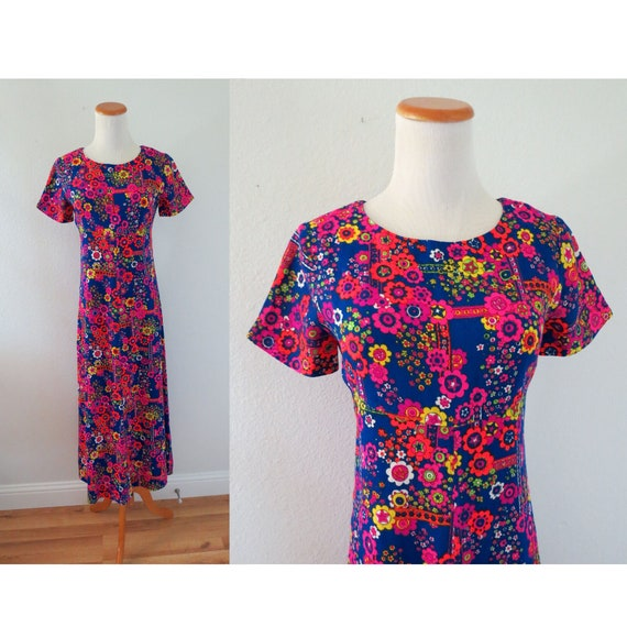 Flower Power Dress 60s Psychedelic Maxi