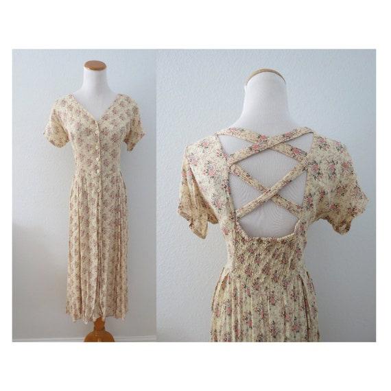 1990s Floral Dress 90s Grunge Midi Dress