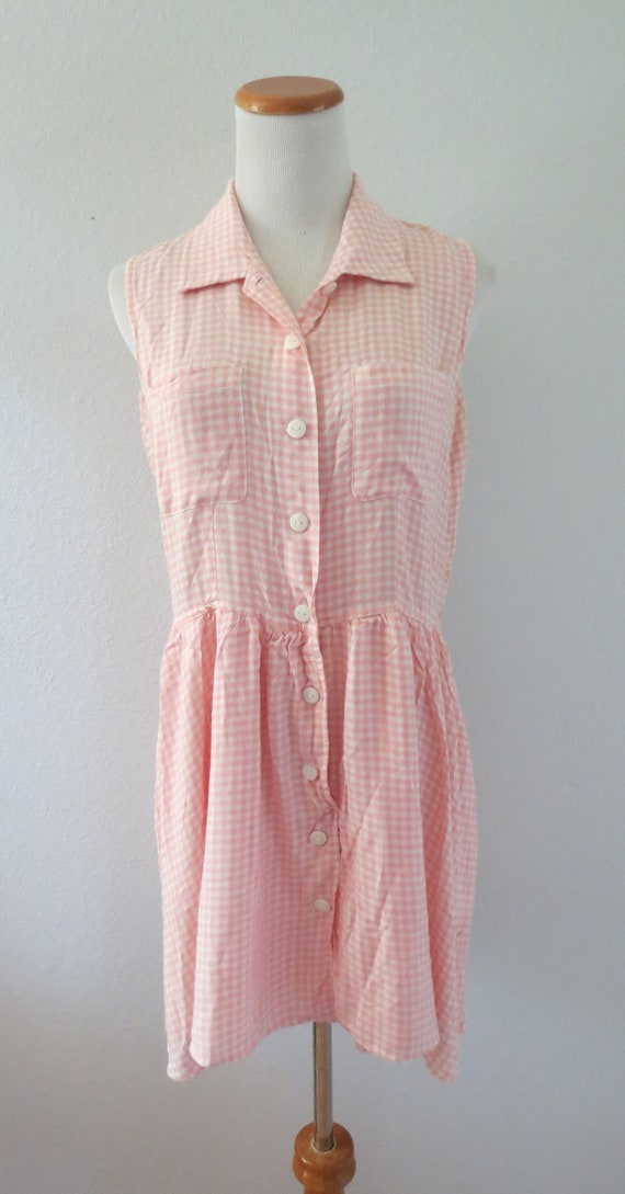90s Romper Pink Gingham Rayon Playsuit - image 2