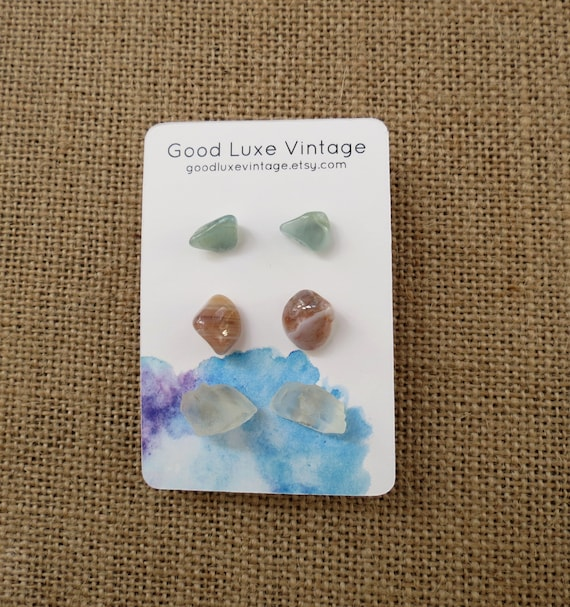 Gemstone Earring Set Crystal Studs Aquamarine Agate Moonstone
