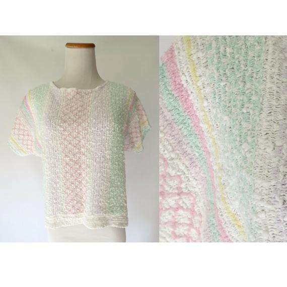 Pastel Sweater / Rainbow Blouse / 80's Knit Top / Short Sleeve Sweater / 1980's Blouse / Boxy Blouse / Size Small Medium / Pastel Grunge