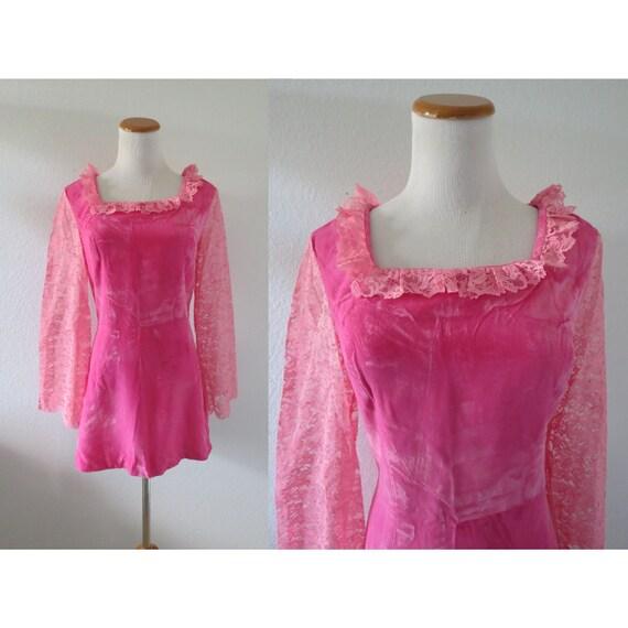 Mod Mini Dress 60s Pink Velvet Lace Dress
