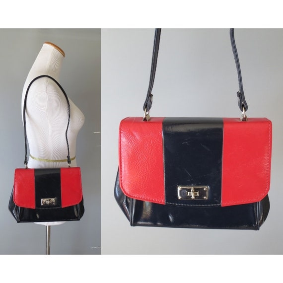 Mod Handbag Purse / 60's Purse / 1960's Handbag / Red & Black Purse / Patent Faux Leather Purse / Mid Century Purse