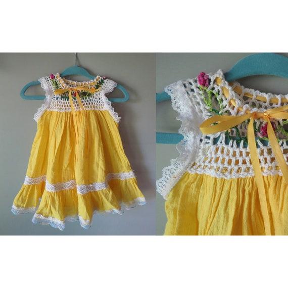Mexican Sundress / Girl's Summer Dress / Yellow Dress / Embroidered Dress / Baby Girl Dress / Toddler Dress / Boho Sundress / Easter Dress