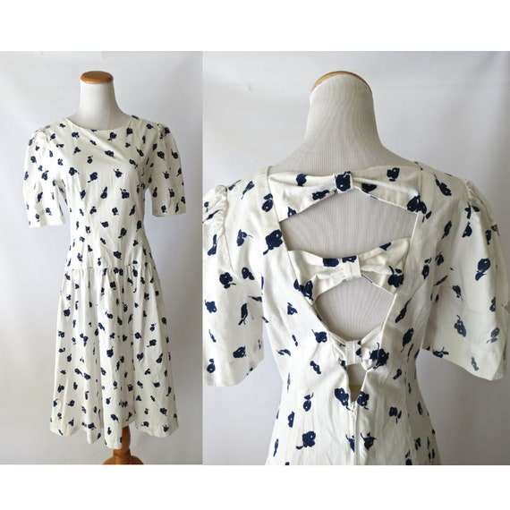 Bow Back Dress 80's Cotton Cut Out Midi Dress White Navy Blue Abstract Floral Print Full Skirt Size Medium
