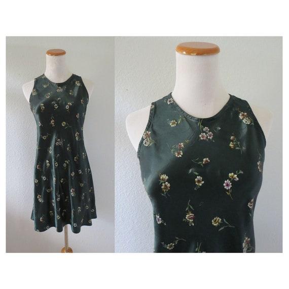 90s Mini Dress Floral Satin Grunge Dress