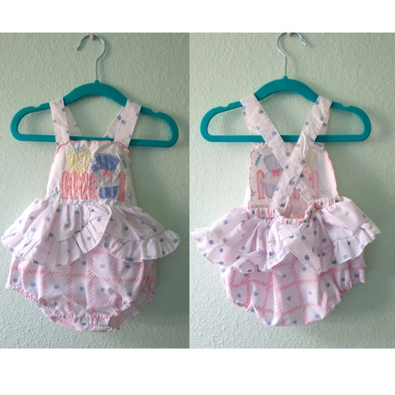 Vintage Baby Girl Romper 80s Outfit